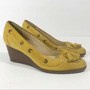 Cole Haan Nike Air yellow suede wedge tassels 6.5